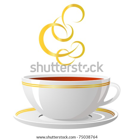 Cup of hot tea on a white background, illustration, vector, eps 8