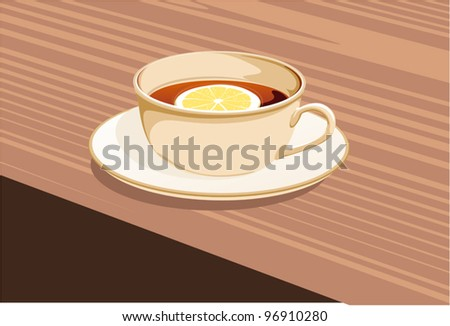 cup of tea and a lemon stands on a saucer - stock vector
