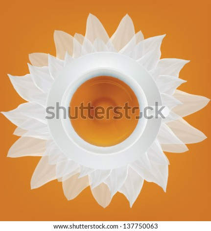 Cup of tea and saucer on a white petals. Vector illustration. Mesh