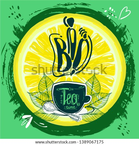 Cup of tea bio,  a hand drawn eco tea pair, tea leaves, cubes on a round background. Vector illustration