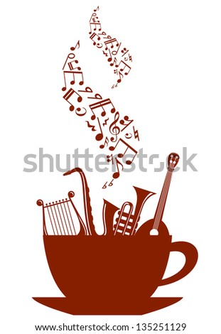 Cup of tea or coffee with musical instruments and waves of notes. Jpeg version also available in gallery
