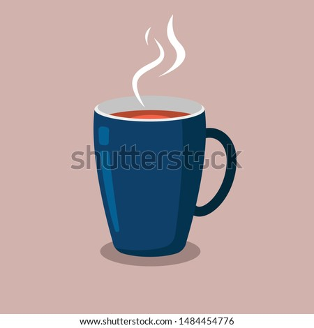 Cup of tea vector illustration. Porcelain mug with hot tea picture. Cofee cup