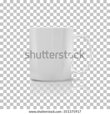 Cup or mug white color. Object coffee or tea, ceramic utensil, beverage breakfast, refreshment caffeine, handle container, realistic glossy elegance cup. Cup icon. Transparent background #351375917
