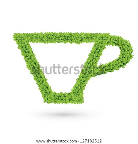 Cup silhouette of leaves vector illustration - stock vector