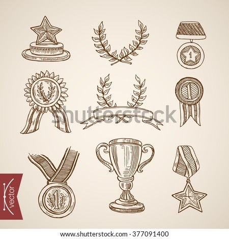 Cup trophy medal win winner attribute icon set. Engraving style pen pencil crosshatch hatching paper painting retro vintage vector lineart illustration.