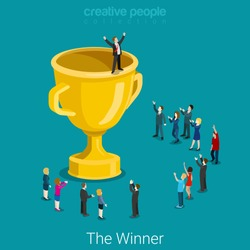 Cup trophy successful winner flat 3d isometry isometric business success concept web infographics vector illustration. Big trophy and micro businessmen. Creative people collection.