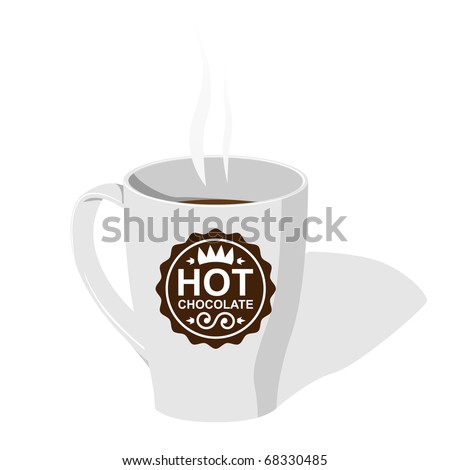 Cup with fictional logo - Hot chocolate. Vector illustration.