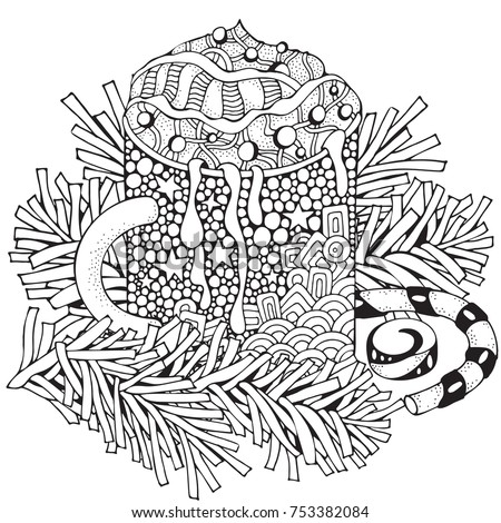 Cup With Hot Coffee Adult Coloring Book Page Christmas Decoration Hand Drawn Vector Illustration Black And White Pattern Zentangle