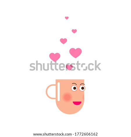 cup with pink heart shape