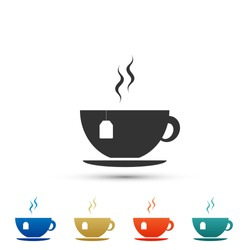 Cup with tea bag icon isolated on white background. Set elements in colored icons. Flat design. Vector Illustration