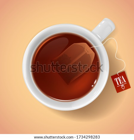 cup with tea bag top view