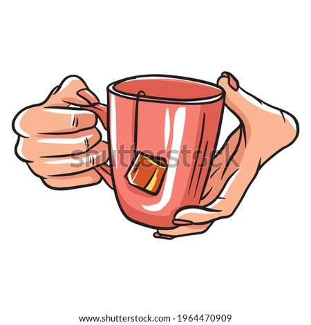 Cup with tea in hand. A fragrant cup of tea for breakfast. A restaurant. Cartoon style. Isolated vector illustration for design and decoration. Foto stock ©