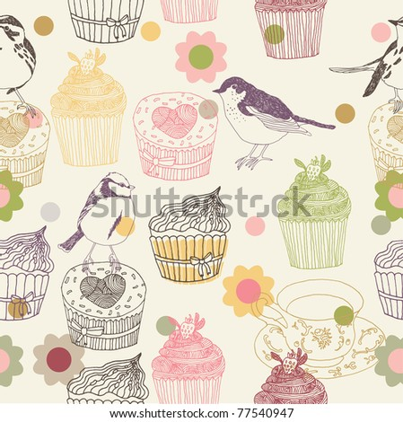 cupcake and birds. seamless pattern design