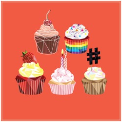Cupcake and muffin set colorful low poly designs isolated on red background with light outlines. Polygonal card design.