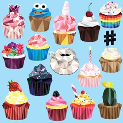 Cupcake and muffin set of 15 different colorful low poly designs isolated on light blue background.