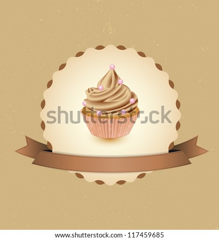 cupcake card in vintage style a retro 2