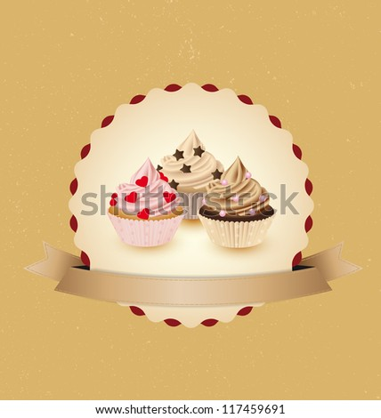 cupcake card in vintage style a retro 3