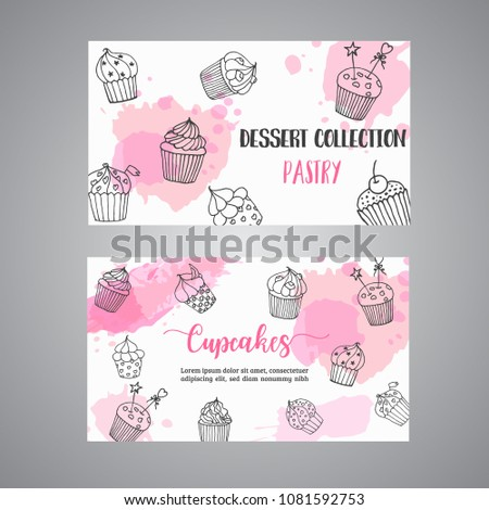 Cupcake cards with handdrawn cupcakes and pink splashes. Pastry, bakery, business card. Vector