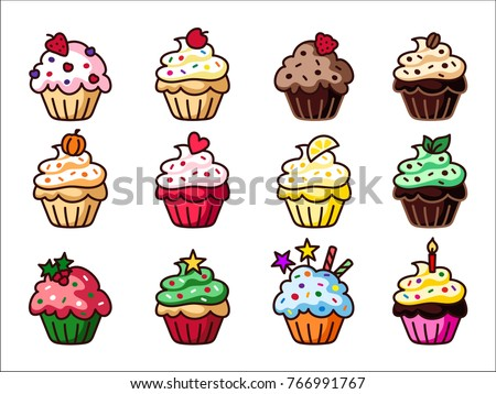 Cupcake clipart set, colorful cupcakes vector illustration, sweet clipart.