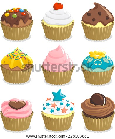 cupcake cup cake icon set  with