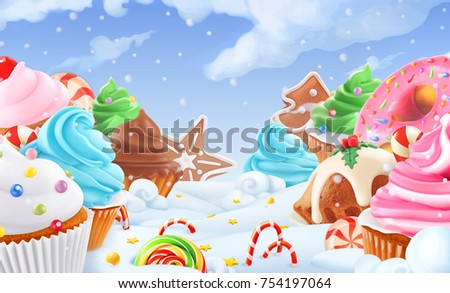 Cupcake, fairy cake. Winter sweet landscape. Christmas background. 3d vector illustration