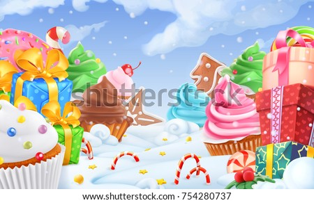 cupcake  gift box winter sweet