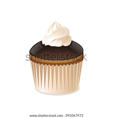 Stock Photo Cupcake icon isolated on a white background. Biscuit cake with cream and chocolate glaze. Vector illustration.
