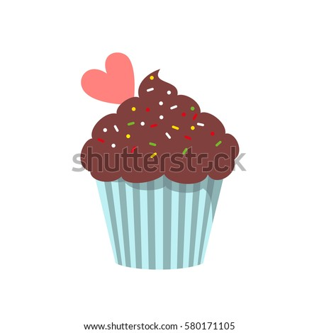 Stock Photo Cupcake icon on the white background for your design. Vector illustration.