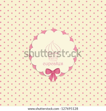 Cupcake Label on a Pink Polka Dot Background with Bow and Sample Text
