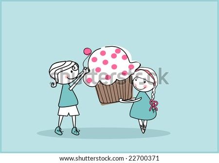 Cupcake Love - stock vector