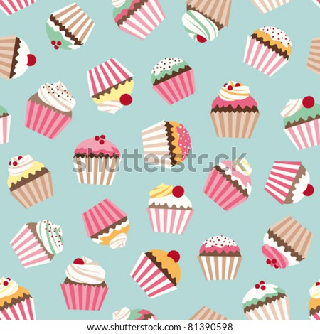 Cupcake retro fabric
