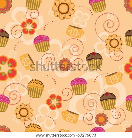Cupcake seamless pattern - stock vector