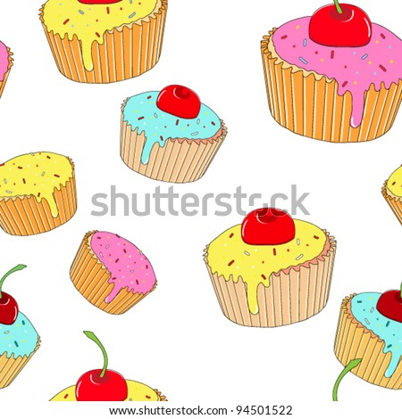 cupcake seamless pattern. vector