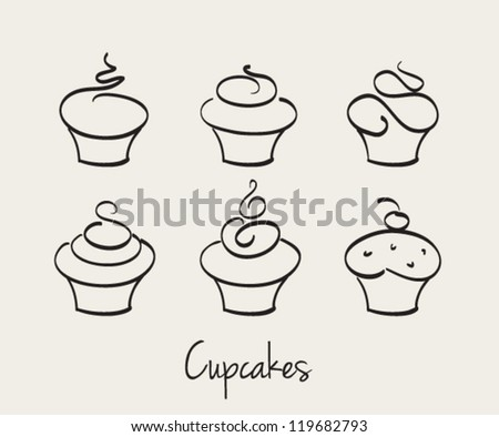 Cupcake set hand drawn vector