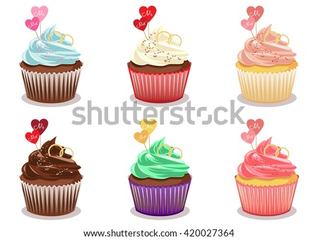 Cupcake set vector. Chocolate cupcake with wedding rings and toppers in the shape of hearts. Cupcake isolated on white background