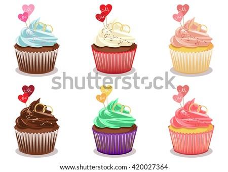 cupcake set vector chocolate