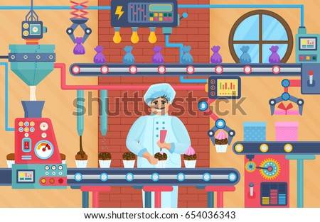 Cupcake sweets factory with confectioner. Chocolate conveyor factory store vector illustration.