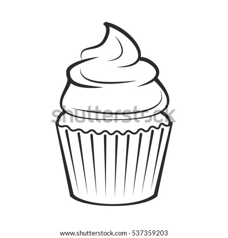 Cupcake. Vector Illustration Isolated On White Background