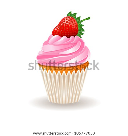 Cupcake with a strawberry