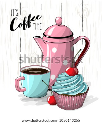 Stock Photo Cupcake with blue cream and cherry, cup of coffee and pink tea pot on simple white wooden texture, vector illustration, eps 10 with transparency