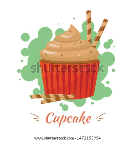 Cupcake with Caramel Cream Topping and Crispy Wafer Rolls Advertisement. Lettering Presentation Poster over Green Bubbles. Bakery and Confectionery Banner with Vector Flat Dessert Illustration