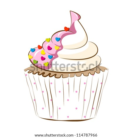 cupcake with cream isolated on white.vector illustration