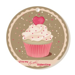 Cupcake with vanilla cream and pink sugar heart for Valentines day. Greeting card, tag or sticker for Sweet Valentine. Vector illustration. Holiday Collection.