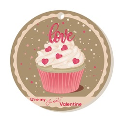 Cupcake with vanilla cream and pink sugar lettering and hearts for Valentines day. Greeting card, tag or sticker for Sweet Valentine. Vector illustration. Holiday Collection.