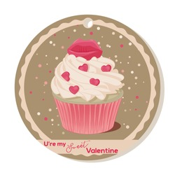 Cupcake with vanilla cream and pink sugar lips for Valentines day. Greeting card, tag or sticker for Sweet Valentine. Vector illustration. Holiday Collection.