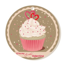 Cupcake with vanilla cream and sugar hearts for Valentines day. Greeting card, tag or sticker for Sweet Valentine. Vector illustration. Holiday Collection.