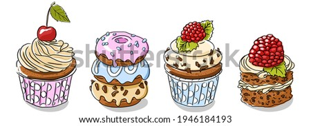Cupcakes and donut . A doodle-style banner. Dessert banner. Cup cake vector. Dessert banner. Homemade white cake. Cup cakes isolated. Print for fabric, packaging, label, postcard, print.  Dessert set