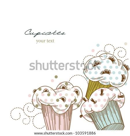 Cupcakes corner - stock vector