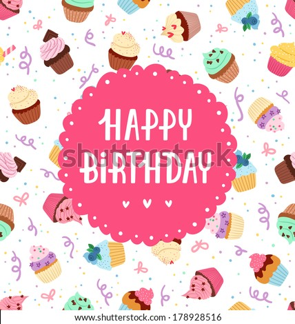 Cupcakes decorative greeting card Sprinkles party confetti and happy birthday text on a seamless pattern