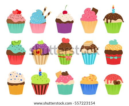 Stock Photo Cupcakes flat icons. Delicious birthday cupcake and wedding muffin vector collection isolated on white background.